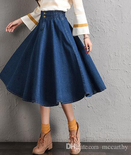sale uk aliexpress discount sale Casual Denim Skirts For Women Cotton Blend New Fashion Mid Calf A Line  Skirts Autumn Spring Ealstic Waist Plus Size Loose Tyn0715 Canada 2019 From  ...