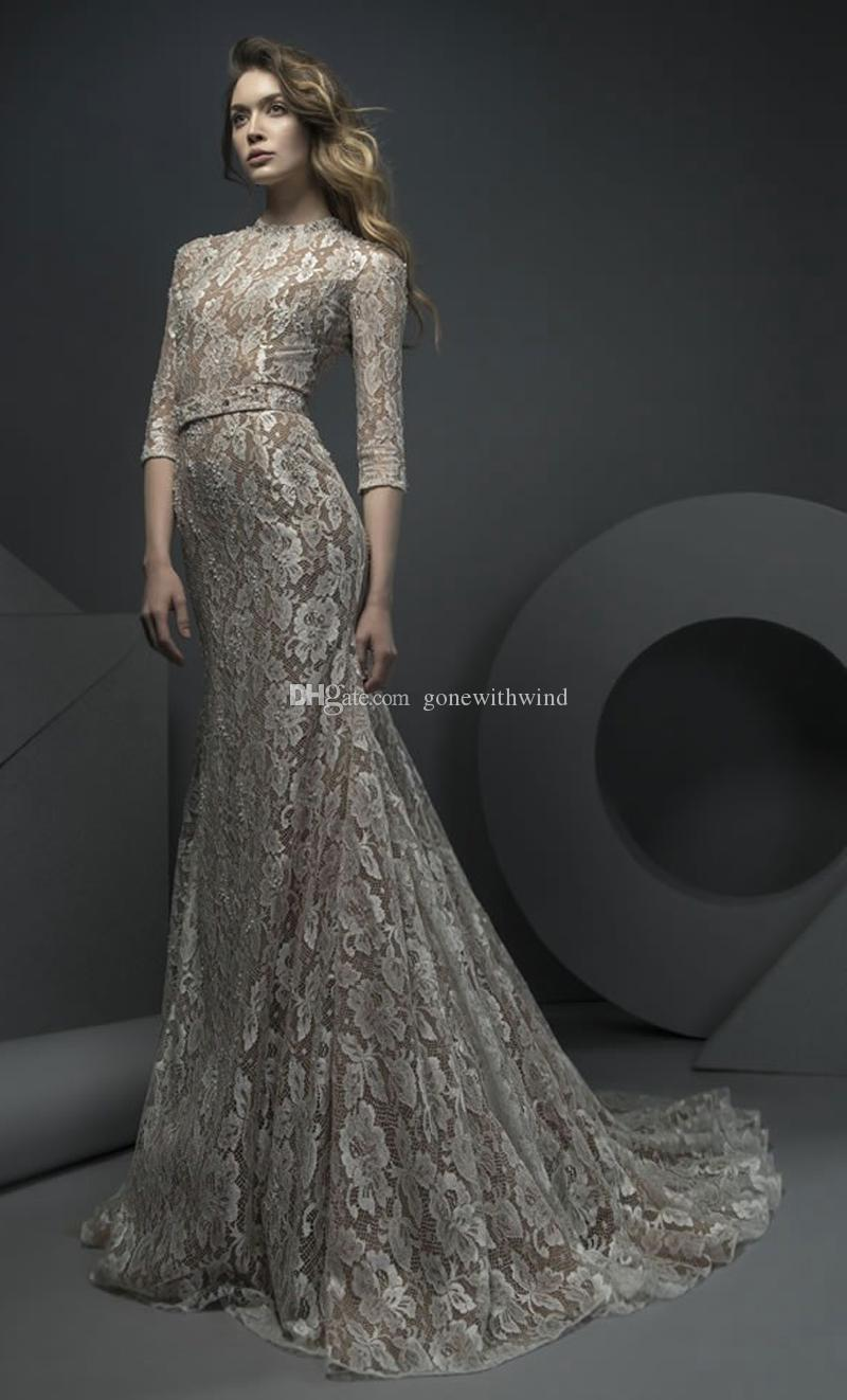 Datchable train vintage lace champagne wedding dresses 2018 ersa datchable train vintage lace champagne wedding dresses 2018 ersa atelier bridal gowns 34 long sleeves jewel neckline a line chapel train junglespirit Gallery