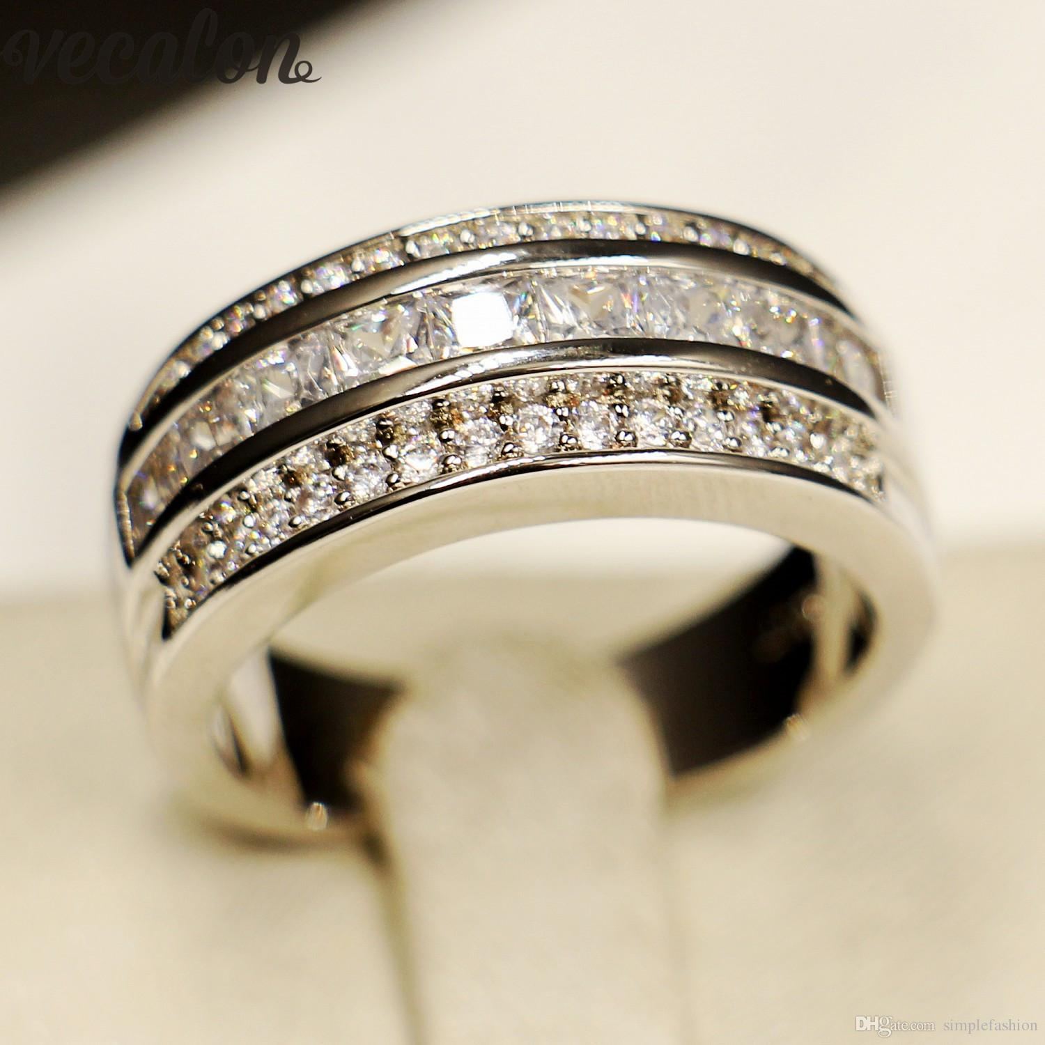 It is just a picture of 44 Vecalon Princess Cut 44A Zircon Cz Wedding Band Ring For Men 44KT White Gold Filled Male Engagement Band Ring Sz 44 44 From Simplefashion, $44.044