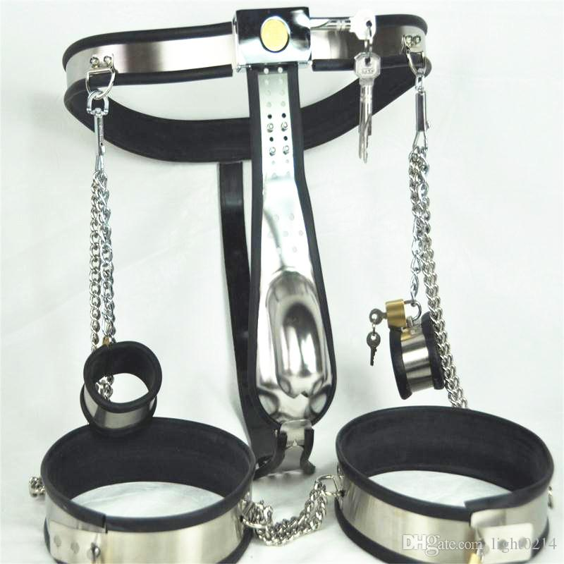 Stainless Steel Male Chastity Belt with Handcuffs Anal Plug Chastity Lock Virginity Pants Chastity Devices Adult Product for Male G7-4-32