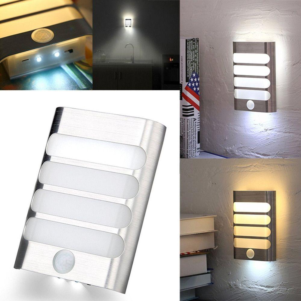 ضوء الليل مع استشعار الحركة LED الجدار مصباح الليل السيارات على / قبالة للطفل المدخل ممر الدرج مدعوم 3xAA البطارية