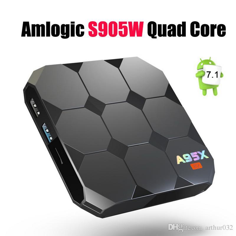 Amlogic S905W A95X R2 Android 7 1 TV BOX 2GB 16GB Quad Core LCD Display HD  4K 3D WiFi Media Player IPTV Boxes Better S905X X96 Mini+ Set Top Box Tv Tv