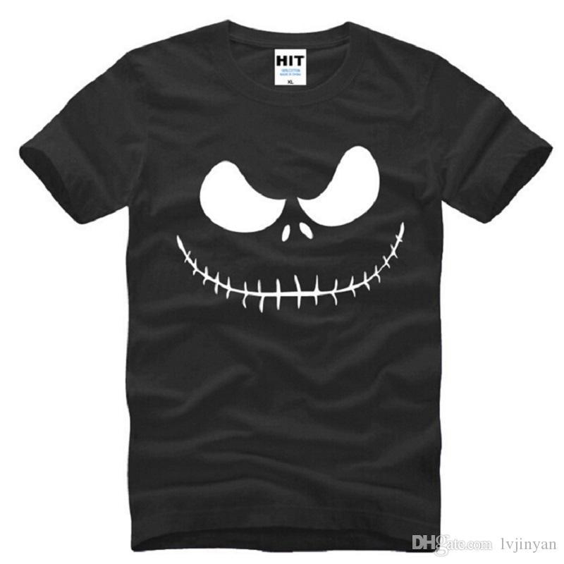 New Nightmare Before Christmas T-shirts hommes coton O-cou à manches courtes Jack Skellington Charcoal imprimé Mens T-shirt
