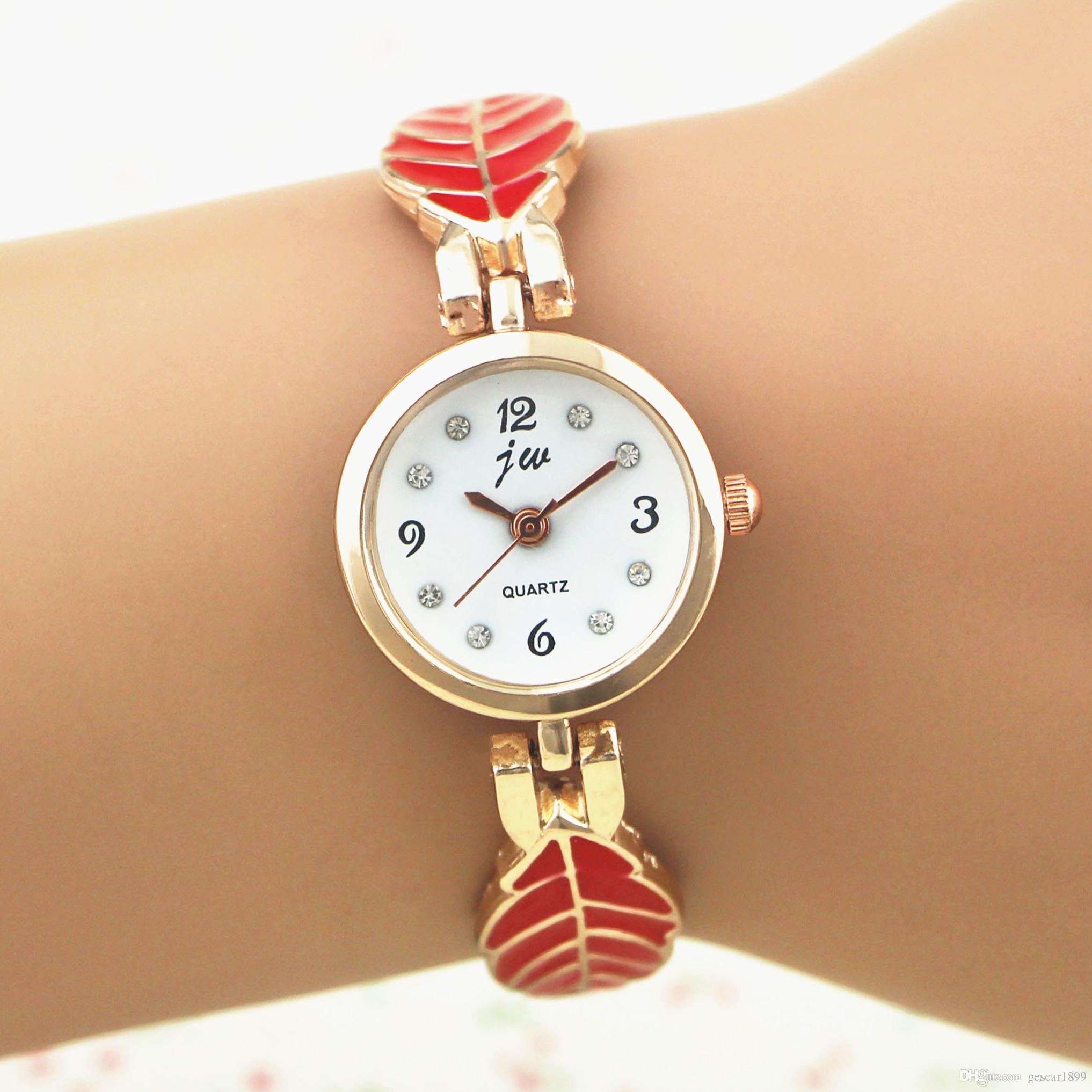 Latest Style Women Watch 4 Colors Tree Leaf Chain Strap Bracelet Watch Dress Women Bangle Wristwatch Wholesale
