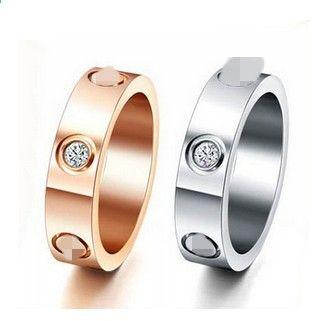Titanium aço prata rosa ouro diamante amor anel de casamento anel para amantes homens mulheres casal caixa de anel opcional