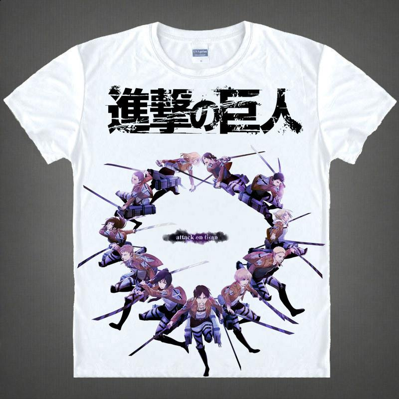 Anime Shirt Attack on Titan T-Shirts Multi-style Short Survey Corps Eren Jaeger Cosplay Motivs Shirts Tee-Style070-1-NO01