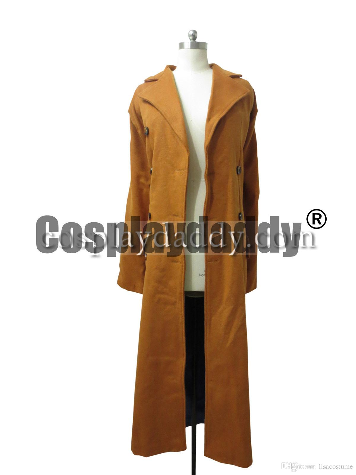 Brown Long Trench Coat Suit Costume Who is Doctor Dr