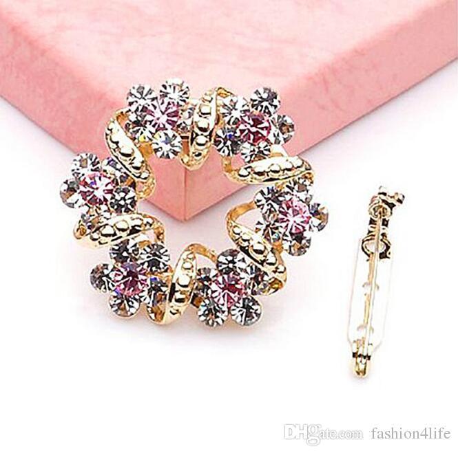 Fiore d'oro tempestato di diamanti Grandi spilla cristalli strass perni braccialetti per le donne Accessori per gioielli Regali di compleanno