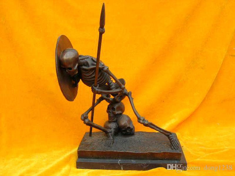 """11 """"Çin bronz Bakır mermer ölümün savaşçı heykeli"""
