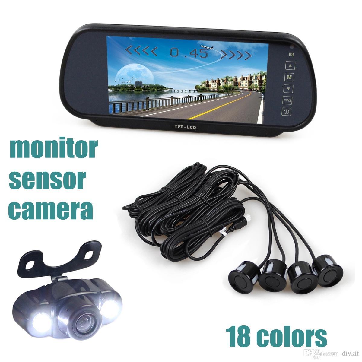 Video Parking Radar 4 Sensors + 7 inch Build-in LCD Display Mirror Car Monitor + 4 x LED Night Vision HD Rear View Car Camera