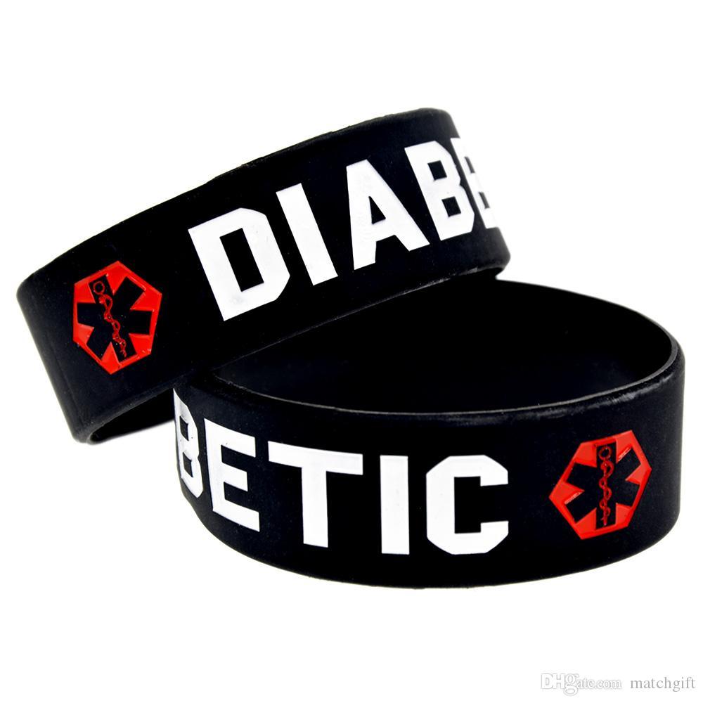 50 pcs pulseira de borracha de silicone diabético 1 polegada de largura uma ótima mensagem para transportar em caso de emergência