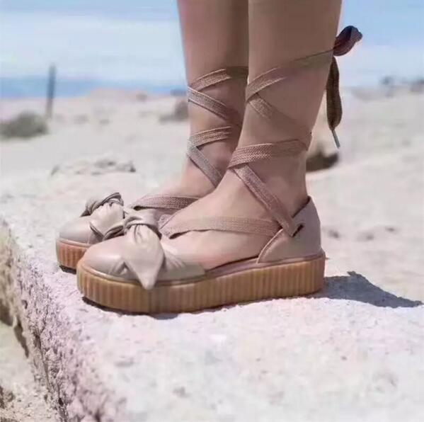 new styles 2b4b5 43ad7 Cheap Rihanna Fenty Bow Creeper Sandal For Womens Slippers Riband Size 35  40 With Box Women'S Shoes Outdoor Sandals Fenty Real Leather Discount Shoes  ...
