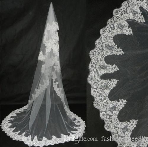 Новый 1 т собор белый кот элегантный кружева края длинные женщины Laday свадебные аксессуары невесты свадебная фата