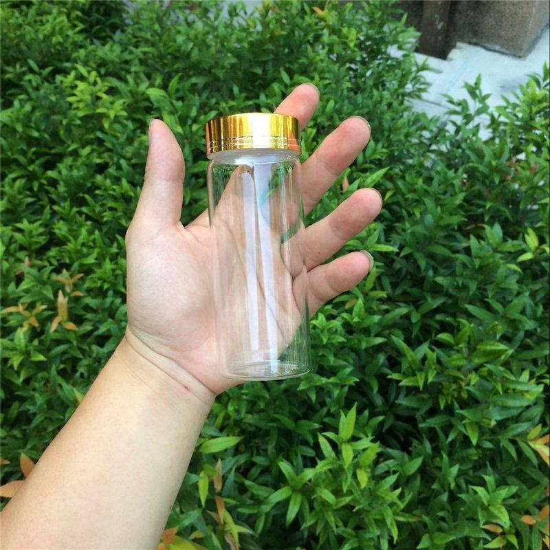 150ml Large Glass Bottles Glod Screw Cap Glass Bottles For Sand Candy Gift Jars Eco-Friendly4