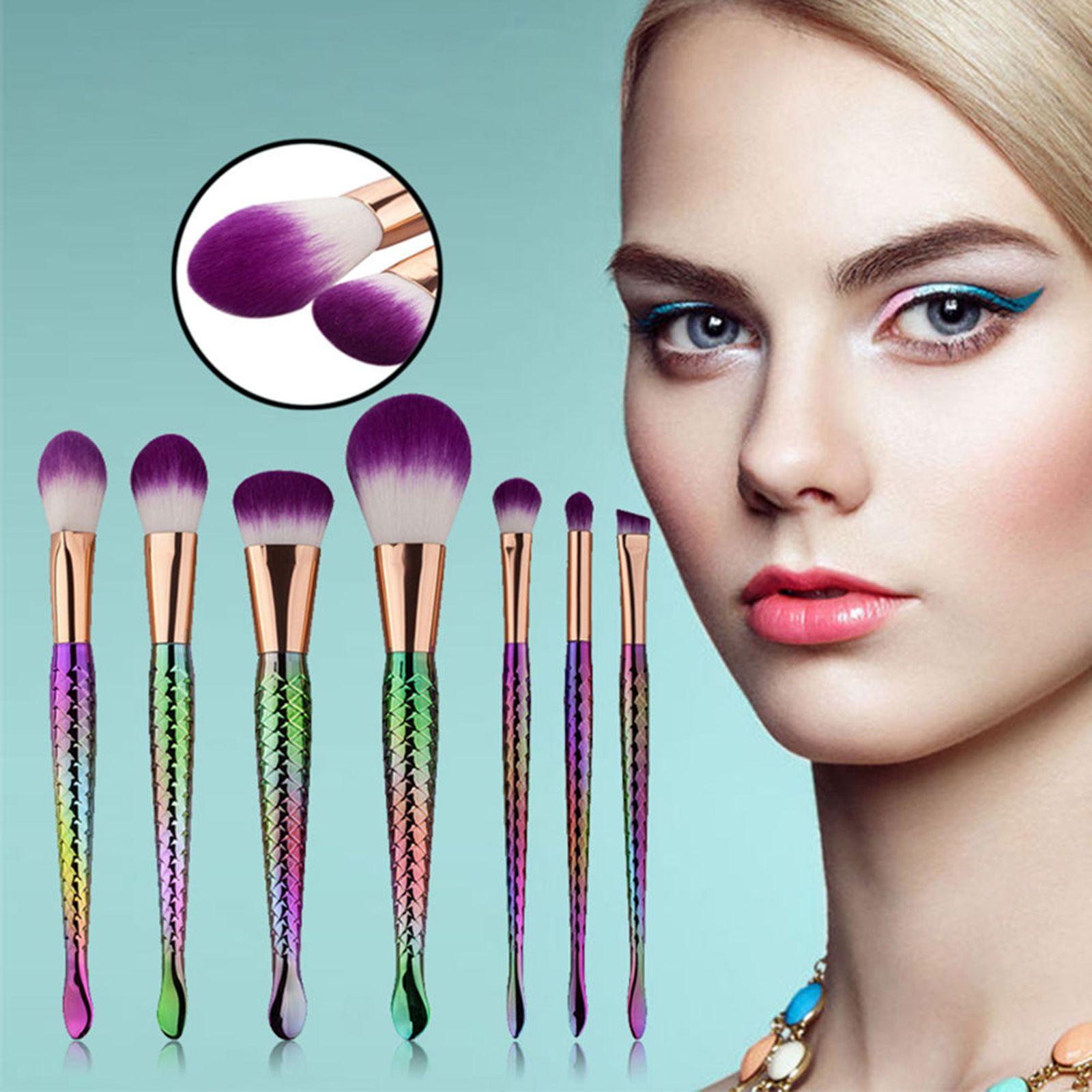 Vander Professional 7PCS Couleur Sirène Make Up Sourcils Eyeliner Blush Mélange Contour Foundation Cosmétique Maquillage Brosses Ensemble