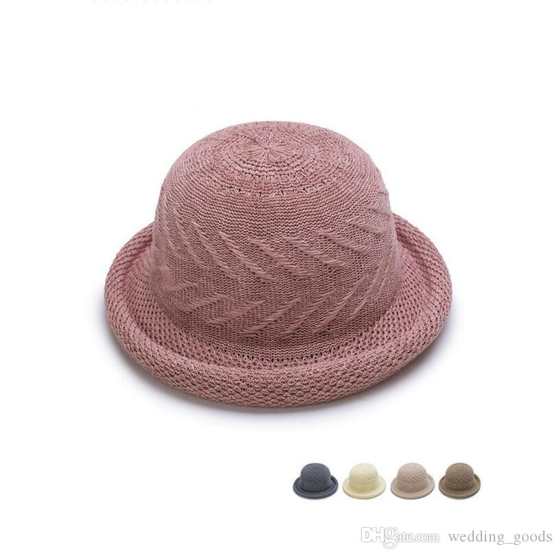 Brand new Spring and summer hollow braided dome hat ladies double round round basin cap breathable shade hat WMB008