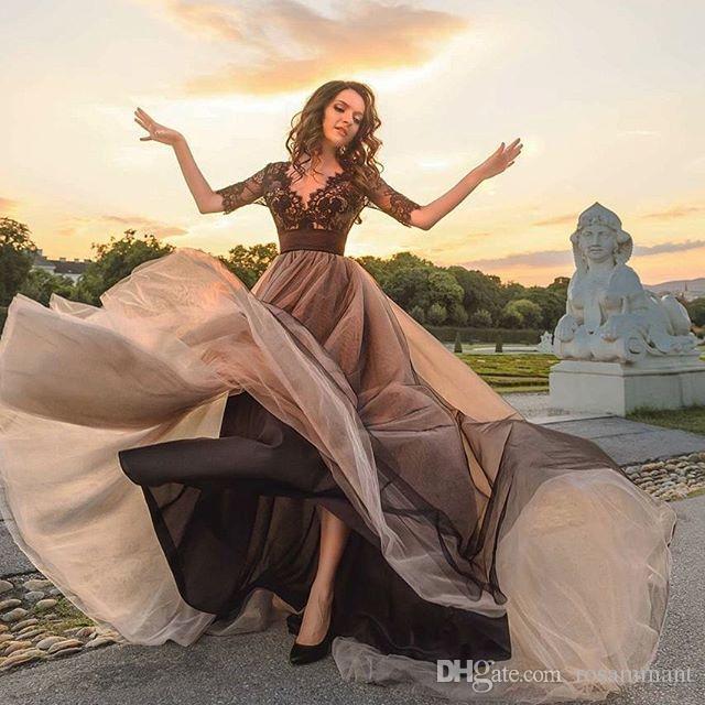 Nuovo arrivo Prom Dresses Prom Dresses Glamorous mezzo di pizzo nero manica abito da sera di Tulle V Neck