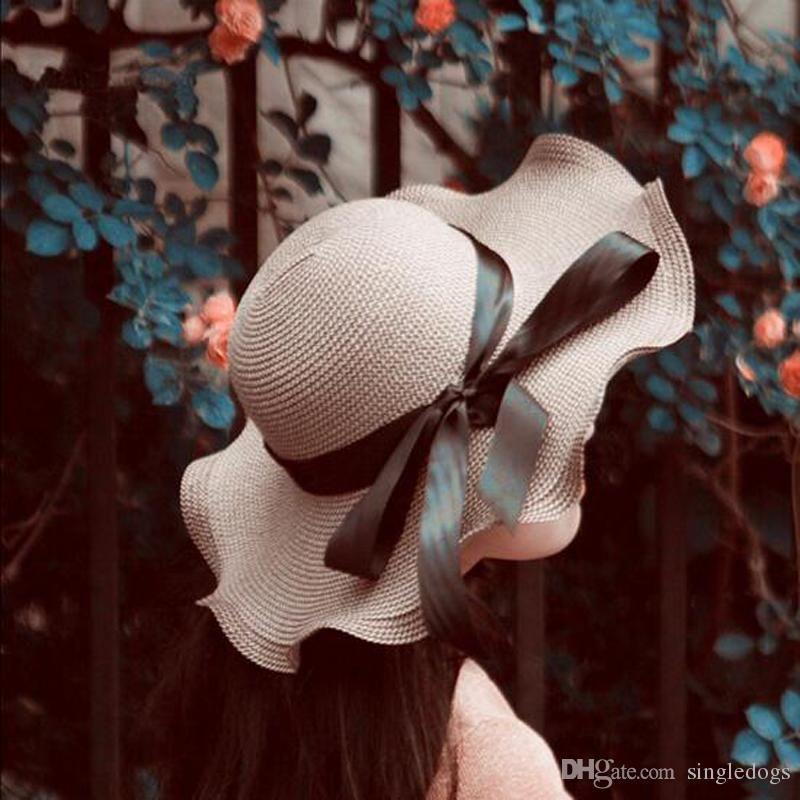 Women Bhaki Beach Hat Large Floppy Foldable Straw Hat Boho Wide Brim Beach Sun Cap with Bow Tie Summer Holiday Free Shipping