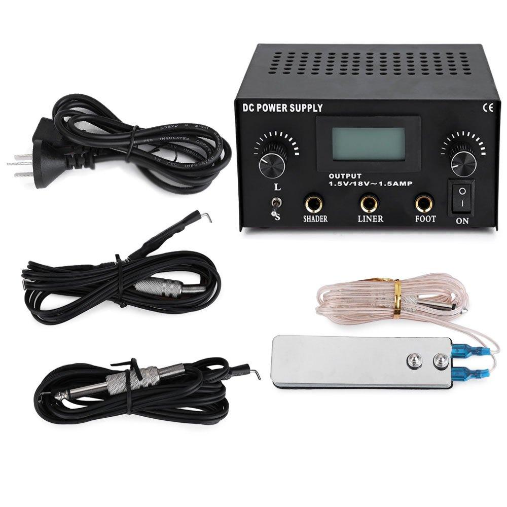 Wholesale-Stable Tattoo Power Supply Kit Tattoo Machine Set Digital LCD Dual Sewing Machine Feet Pedal Switch 2 Clip Cords Power Supplies