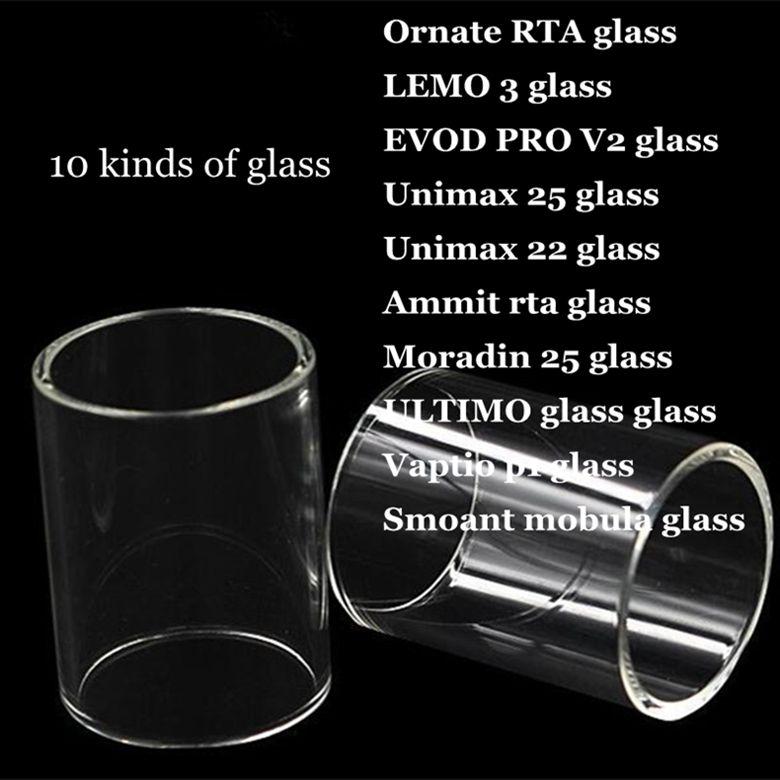 Ornato RTA LEMO 3 EVOD PRO 2 Unimax 25 22 Ammit rta Moradin 25 ULTIMO Vaptio p1 Smoula mobula Sostituzione Pyrex Glass Tube