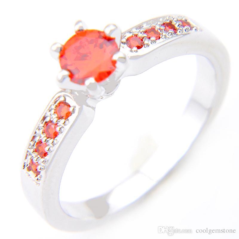 Hurtownie 6 Sztuk / partia Daily Biżuteria Prezent Wakacyjny Ogień Okrągły Czerwony Kubiczny Cyrkonia Gemstone 925 Sterling Posrebrzany Pierścień