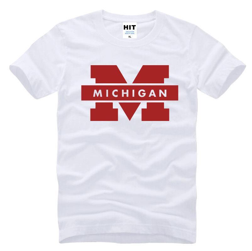 Logotipo de la Universidad de Michigan Camiseta estampada para hombre para hombre 2017 Camiseta manga corta casual Top Camisetas Hombre