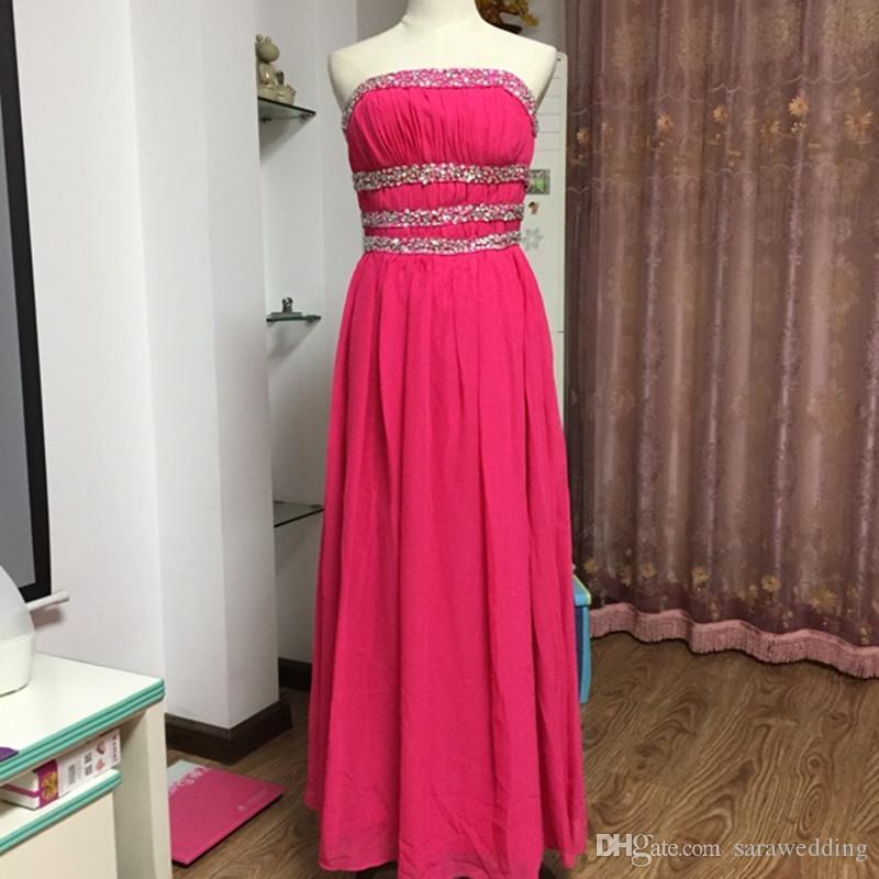 Fuchsia trägerlosen Chiffon Brautjungfernkleider Lace Up 2018 Perlen formale Abendkleid Bodenlänge Party Kleid