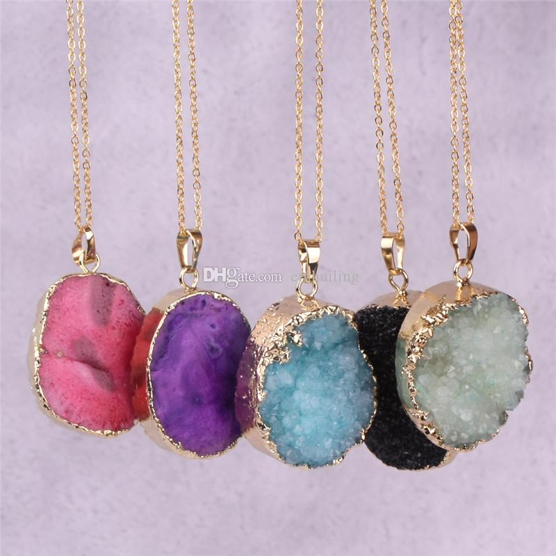 Nature 20-40mm Gemstone Bead Druzy Cluster Pendant with Gold Electroplated Edges Freeform Quartz Geode Boho Stone Statement Necklace Jewelry