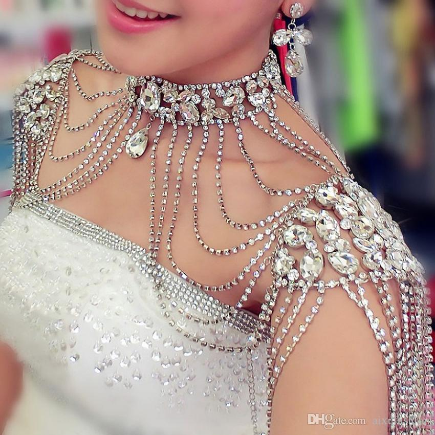 Vintage Bridal Shoulder Necklace Chain Rhinestone Drop Necklace Earring Wedding Party Body Shoulder Chain Jewelry Crystal 2017