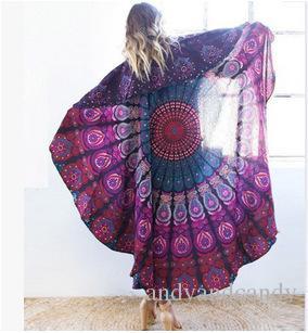 150 cm rodada bohemian style fino chiffon toalha de praia mandala lenço de seda rodada lençol toalha de mesa tampa do sofá multifuntion tapeçaria