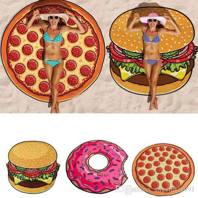 Beach Towel Pizza Hamburger Printed 150cm Large Towels Bohemia Style Chiffon Circle Toalla Hawaiian Round Scarf Wrap Shawl