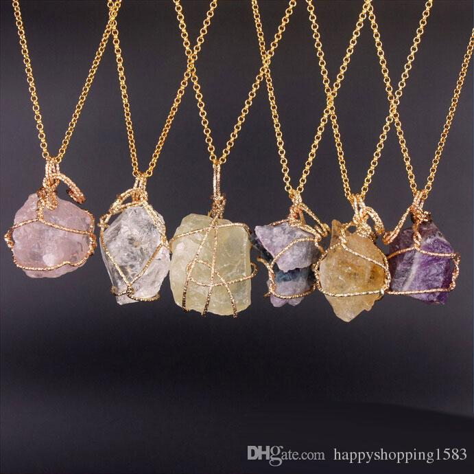 irregular crystal natural necklace lemon stone agate wholesale winding amethyst fluorite pendant product