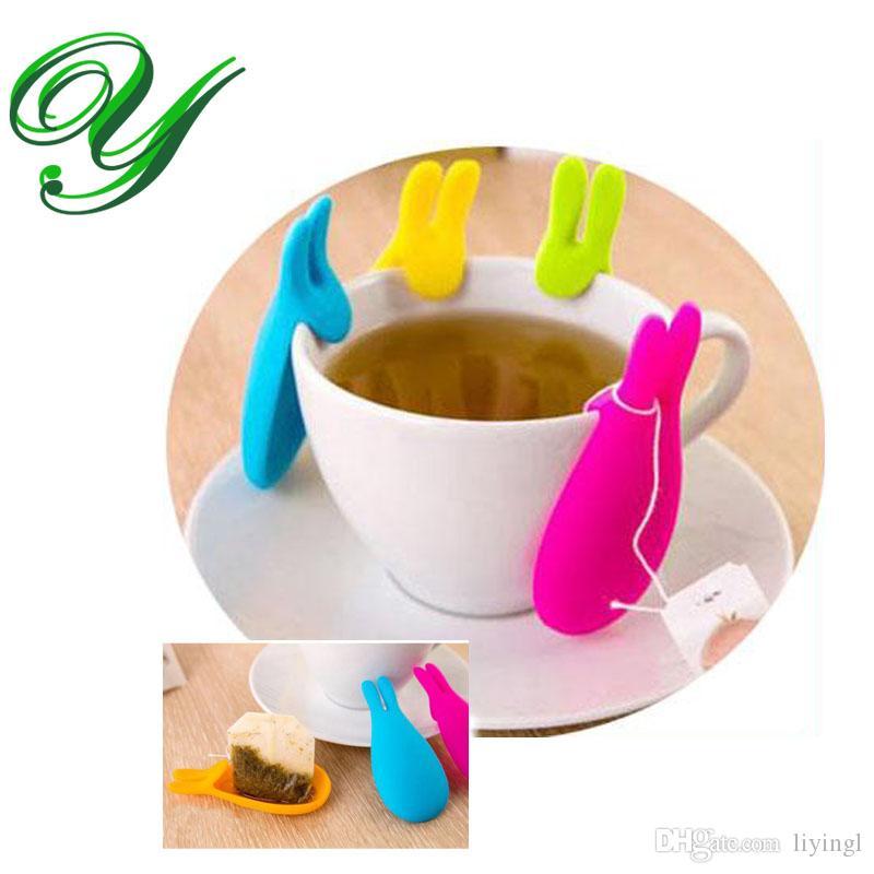 Silikon Çay Çanta Tutucu Askı depolama organizatörleri Fincan Kupa Hediye çay makinesi araçları Yaratıcı Tavşan Şekli Şeker Renkler çay demlik süzgeç kutusu