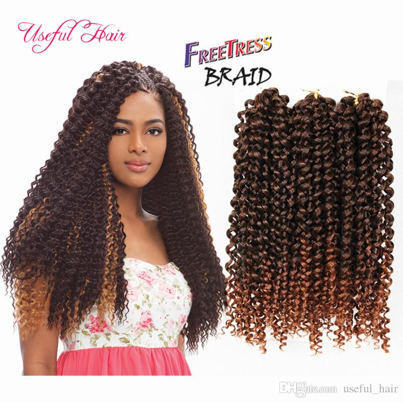 3pcs/pack freetress synthetic braiding hair ombre pre looped savana jerry Curly Braids Hair Extensions Kanekalon Hair Braids for black women
