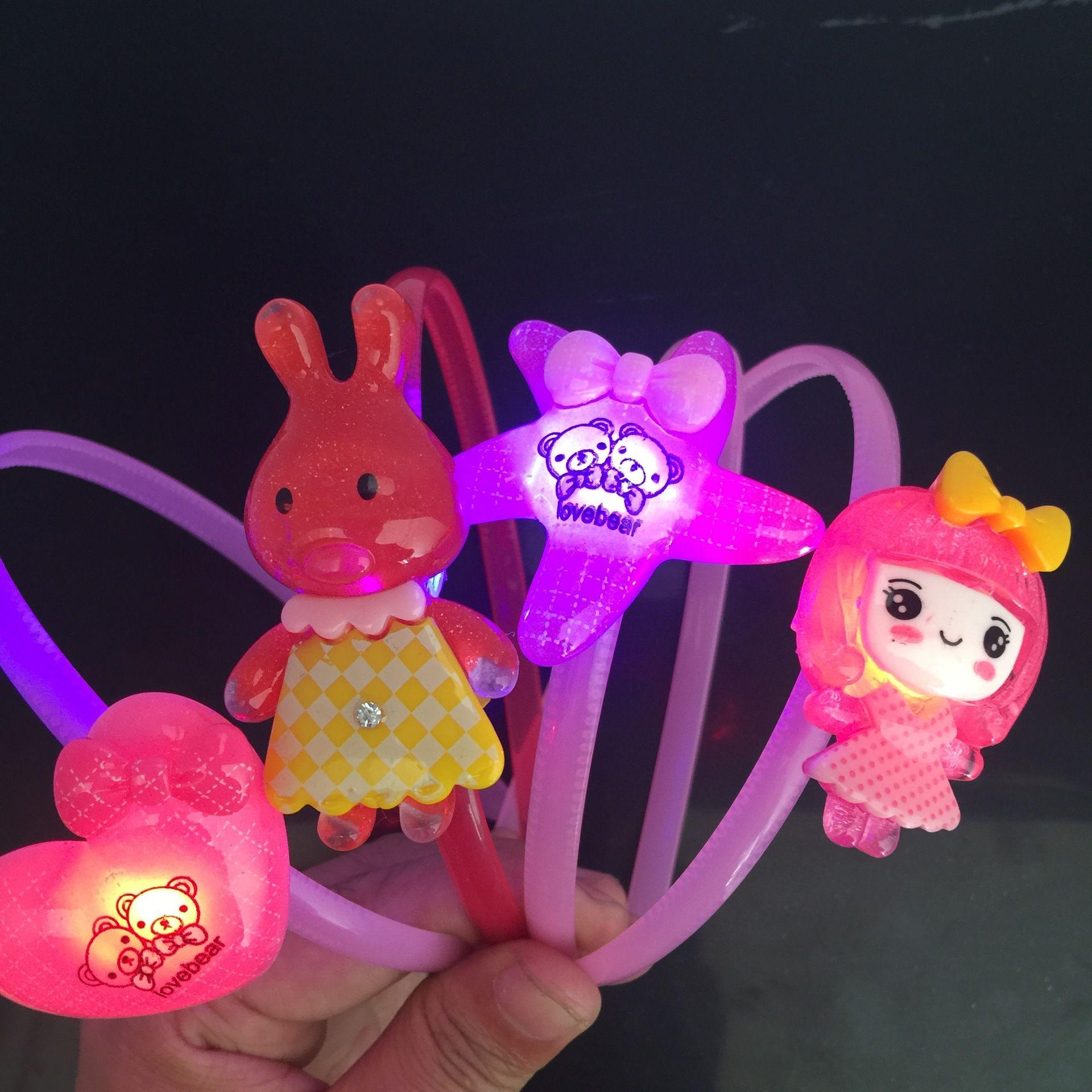 Enfants créatifs cadeaux carré lumineux barrette décrochage vendant des accessoires de bandeau jouet lumineux