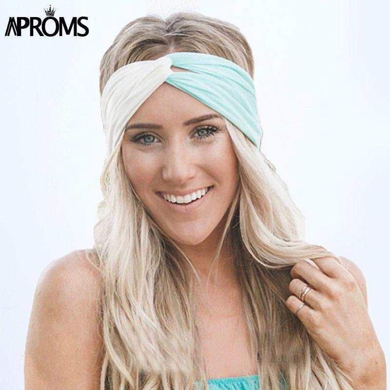 Aproms Torção Turbante Headband para Mulheres Acessórios Para o Cabelo Esticar Hairbands Meninas Headwear Headbands Cabeça Envoltório Banda Bandana