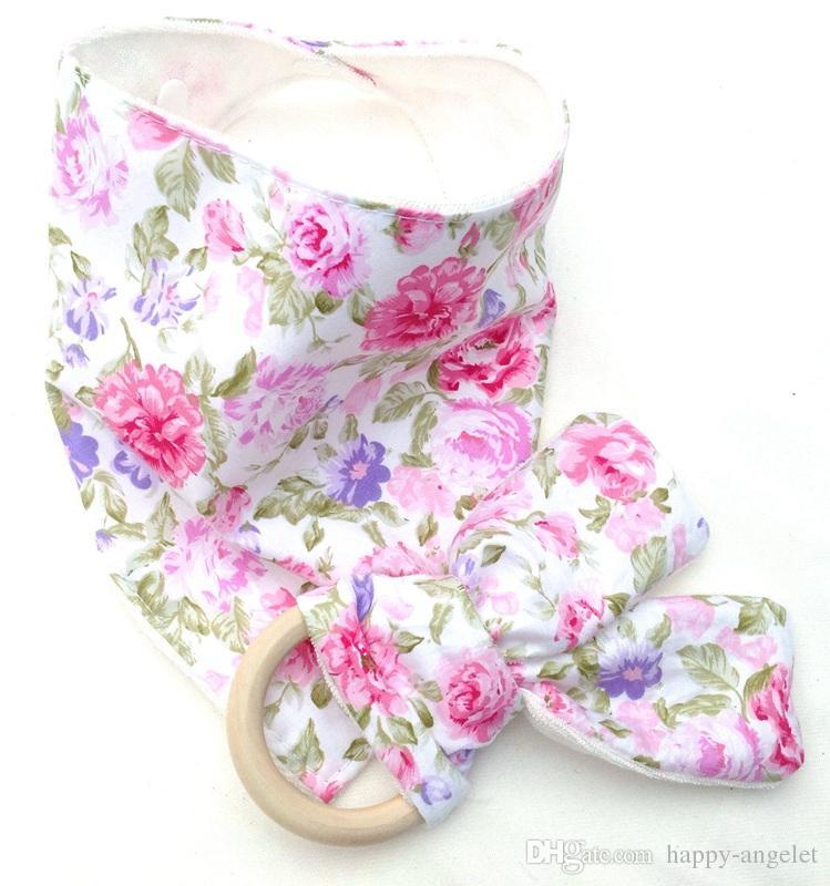 10sets Baby Triangle Bib burp Cloths & Teethers set Cotton Bandana kerchief infant Saliva Bibs Pinafore Apron Wooden Chews Teeth Stick YE006