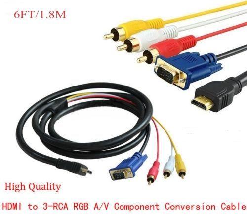 Neue 6 Füße 1,8 Mt Gold HDMI zu VGA 3 RCA Konverter Adapter Kabel 1080 p Für Analoge Komponente HDTV