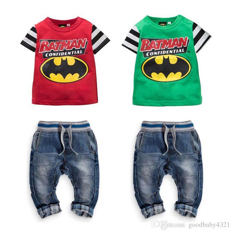 2019 Boys Cartoon Batman Jeans Suit Two Piece Patchwork T Shirt