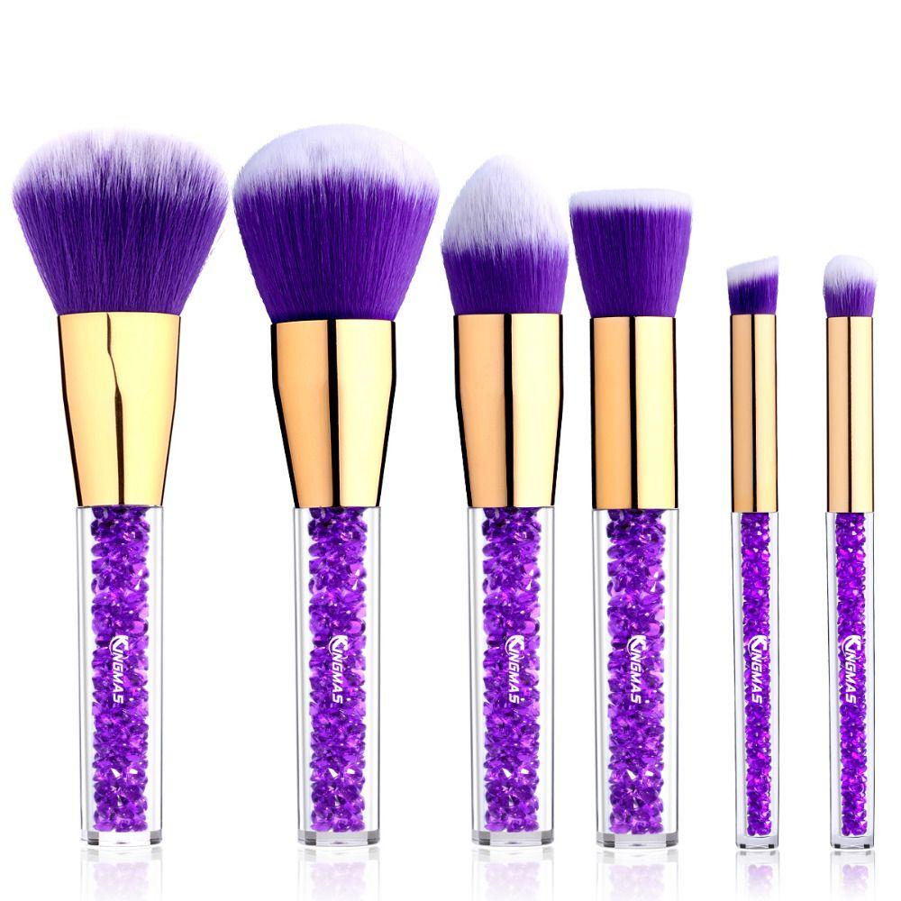 6 Parça Yüz Kozmetik Fırça Seti Pudra Fondöten için Rhinestone Akrilik Makyaj Fırçalar Kolu Kaş Allık Kapatıcı Araçları