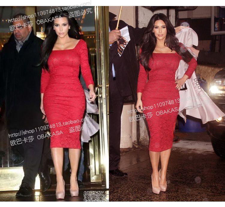 New Arrival Autumn European Lady Kim Kardashian Same Lace Evening Dress Red Slim Long-sleeved Square Collar Bodycon Formal Dress