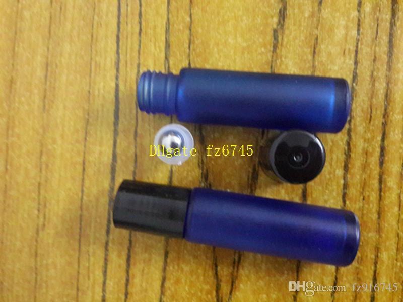 200pcs / lot 빠른 배송 10ml 1 / 3oz THICK ROLL GLASS BOTTLE Fragrances 에센셜 오일 병 Roller Ball blue color