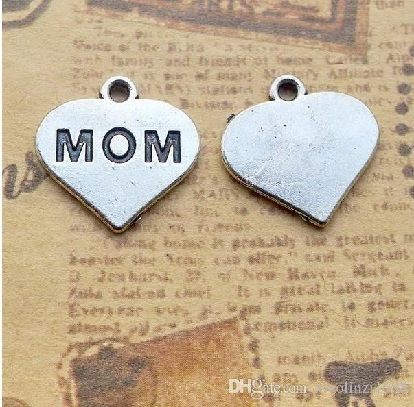 A1518 16*16mm mom English ancient silver alloy jewelry accessories DIY80 / bag 1.4 grams