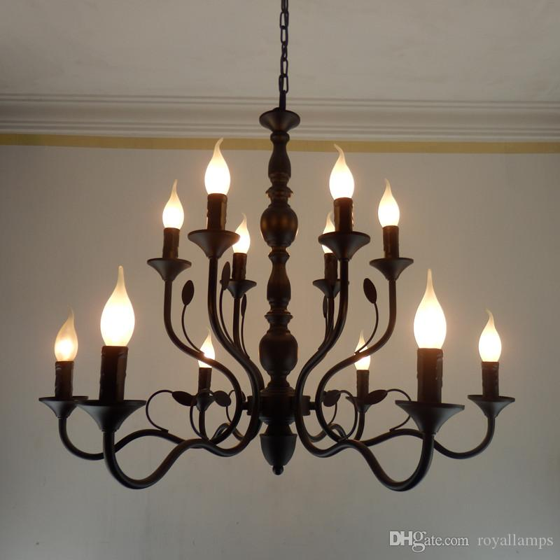 Luxury Rustic Wrought Iron Chandelier E14 Candle holder hanging light Black Vintage Antique Home Chandeliers For Living room lamp fixtures