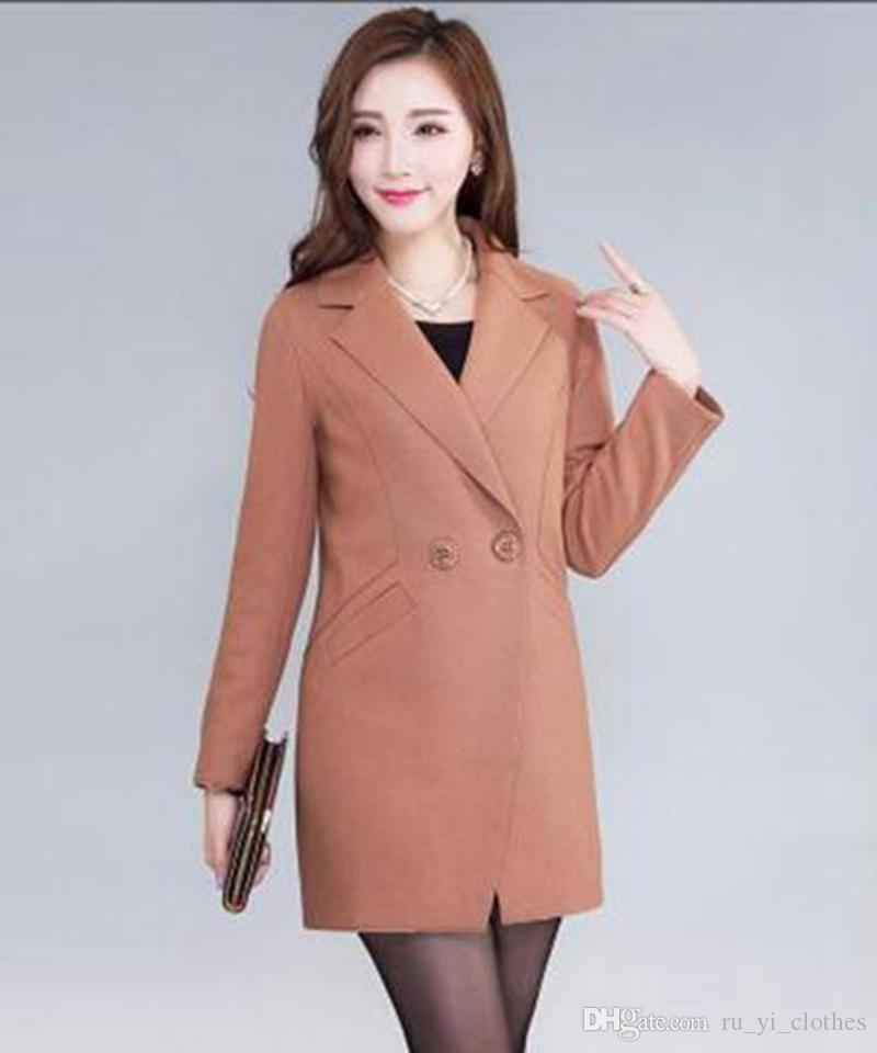 봄과 가을 기간 및 한 판 여성 레저 패션 쇼 얇은 트렌치 코트 옷깃 느슨한 천 / M-3xl
