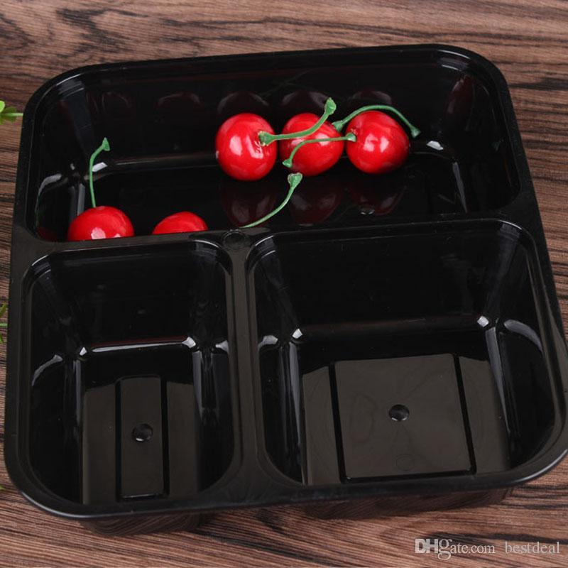 3 Fächer Mikrowellen-Lebensmittellagerung Einwegbehälter für die Zubereitung von Mahlzeiten + Deckel Bento Box Lunchbox-Tablett mit Deckel für die Zubereitung von Mahlzeiten Portionskontrolle