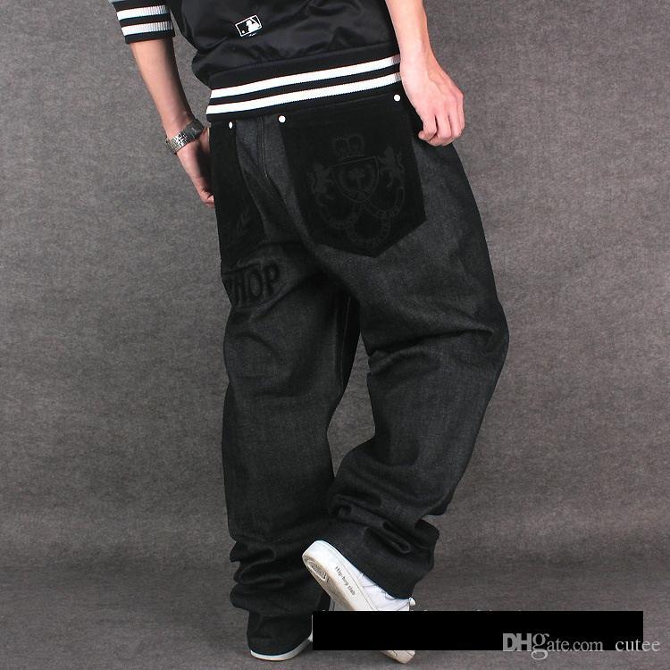 Одежда хип-хоп хмель хипхоп джинсы, стекающиеся оптовые-свободные мужские платья большие брюки прилив мужские дворы хип джинсы хип-хоп прямые напечатанные XHFSA