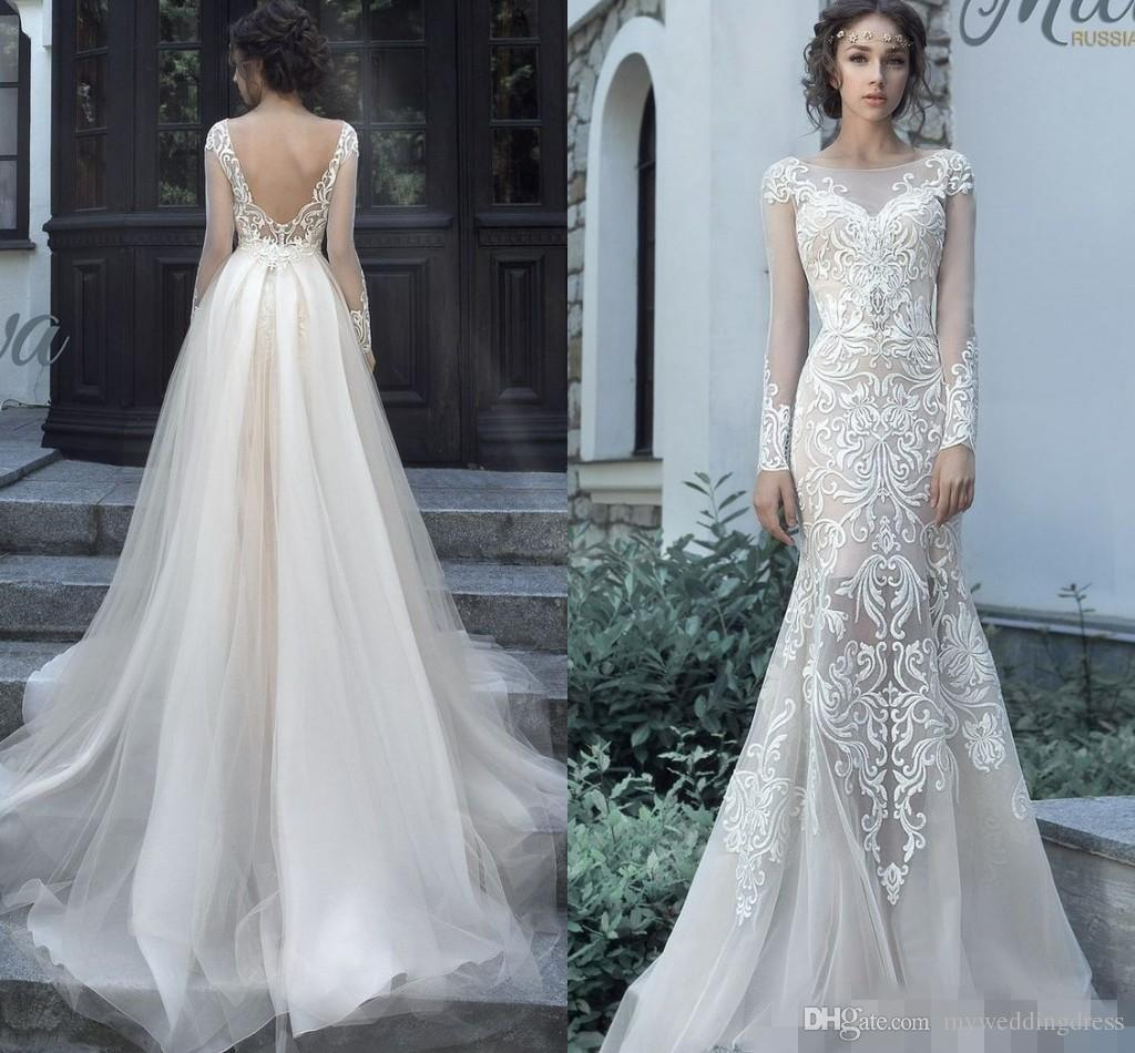 Milva bridal 2017 two pieces mermaid wedding dresses with milva bridal 2017 two pieces mermaid wedding dresses with detachable skirts vintage lace tulle long sleeve arabic dubai bridal wedding gowns 2018 from ombrellifo Images