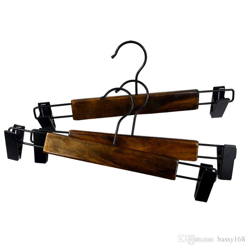 Retro Color Wood Hangers with Clips Wooden Hanger for Pants Trousers Skirts Clothes for Children Kids Babies Lady Women Men