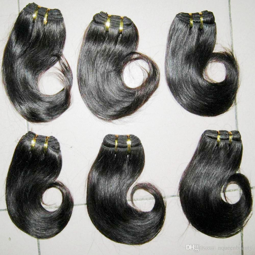 1.2 كجم السائبة السعر المنخفض مجانا dhl malayaisn لحمة الشعر البشري نسج wavy 8 بوصة (30g / pc) اللون # 1B الشعر للبيع
